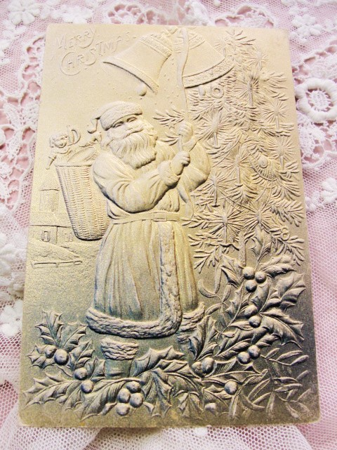 GORGEOUS Antique Christmas Greeting Postcard Full SANTA Claus St Nick Heavily Embossed All GOLD Decorative Christmas Holiday Decor Card