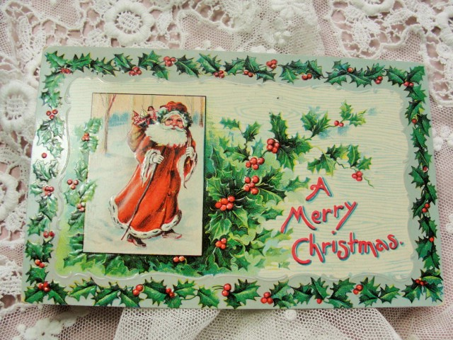 BEAUTIFUL Antique Christmas Greeting Postcard Full SANTA Claus Saint Nick Embossed Hollyberry Decorative Holiday Decor Vintage Holiday Card