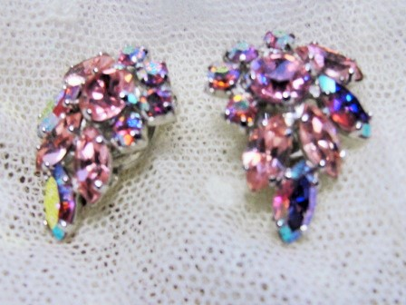 AMAZING Signed SHERMAN Vintage 50s Clip On Earrings PINK Rhinestones Gorgeous Timeless Design Vintage Costume Jewelry