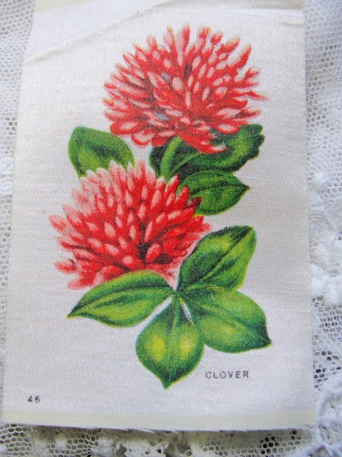 ANTIQUE Cigarette Tobacco SILK Printed Flowers Clover For Fine Sewing Crazy Quilts or Frame It For Shabby Chic Romantic Cottage Decor