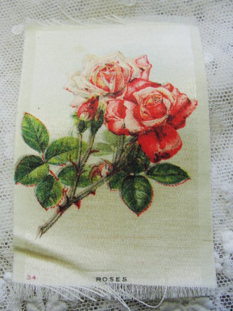ANTIQUE Cigarette Tobacco SILK Printed Flowers ROSES For Fine Sewing Quilting Projects or Frame It For Shabby Chic Romantic Cottage Decor
