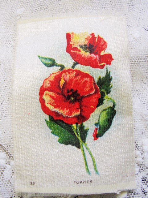 ANTIQUE Cigarette Tobacco SILK Printed Flowers POPPIES For Fine Sewing Crazy Quilts or Frame It For Shabby Chic Romantic Cottage Decor