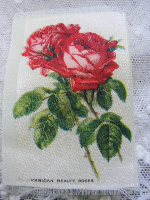 ANTIQUE Cigarette Tobacco SILK Printed Flowers American Roses For Fine Sewing Quilting Projects or Frame It For Shabby Chic Romantic Cottage Decor