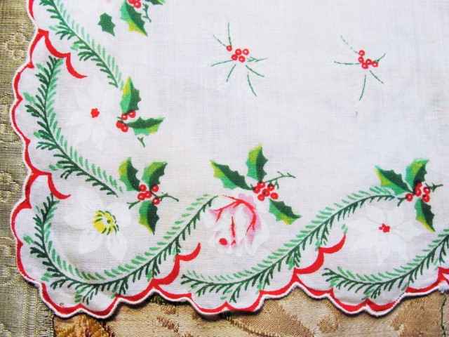 Cheerful 1950s CHRISTMAS Holiday Hankie Hanky Handkerchief Colorful Printed Hollyberry Mistletoe etc