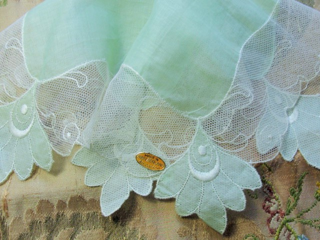 Vintage 50s Hanky Wide Tambour Swiss Netted Lace Handkerchief Pale Mint Green Hankie Lovely addition Hankies Collection