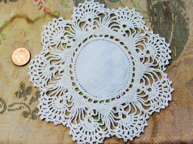 Lovely Vintage Linen and Crochet Lace Small Doily Pretty Design Great Cottage Romantic Home Decor