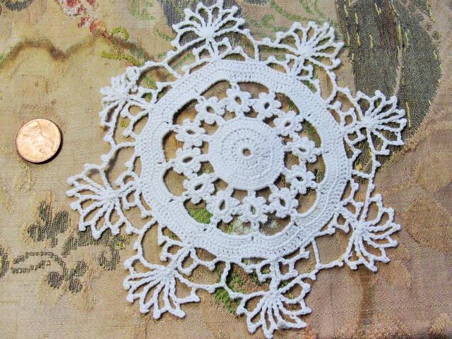 Vintage Hand Crochet Lace Doily Fine Workmanship Decorative Snowflake Design Very Pretty