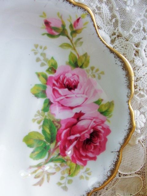 LUSH Pink Roses AMERICAN BEAUTY Paul Longpre Royal Albert English Bone China Small Serving Dish Romantic Cottage Brocante Decor Tea Table, Bridal Showers,Weddings,Hostess Gift