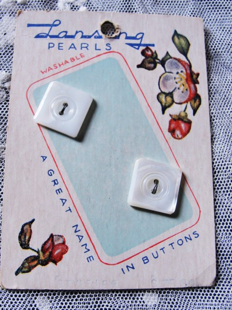 Antique Art Deco Mother of Pearl Buttons Lustrous Carved Square Pearl Buttons Decorative Card Frame or Use In Doll Costumes Baby Clothes Vintage Clothing