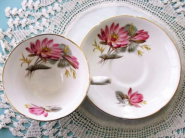 CHARMING Teacup and Saucer Royal Grafton English Bone China Sweet PINK Vintage Cup and Saucer Tea Time China