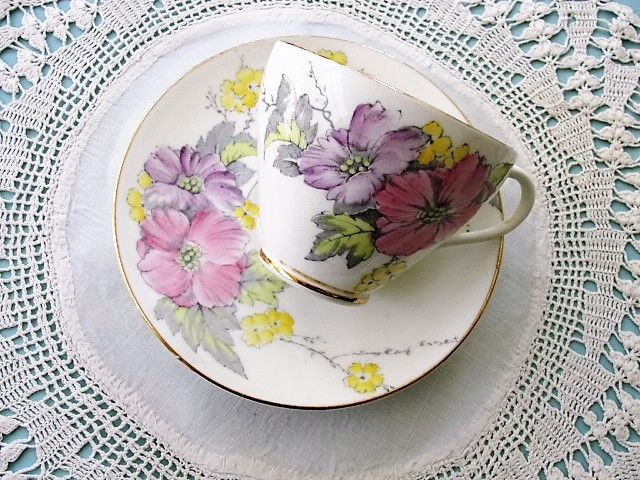 CHEERFUL Vintage English Foley China Tea Cup and Saucer BEGONIA Pattern PINK Hand Painted Flowers for Bridal Luncheons,Showers,Hostess Gift, Bridesmaid Gift, Wedding, Tea Party