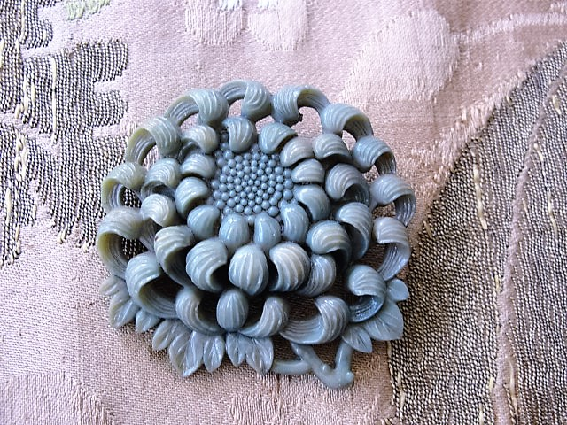 FAB Art Deco 1930s Vintage Carved Pireced High Relief Celluloid Chrysanthemum Floral Brooch Tinted Molded Early Plastic Jewelry To Wear or For Collector