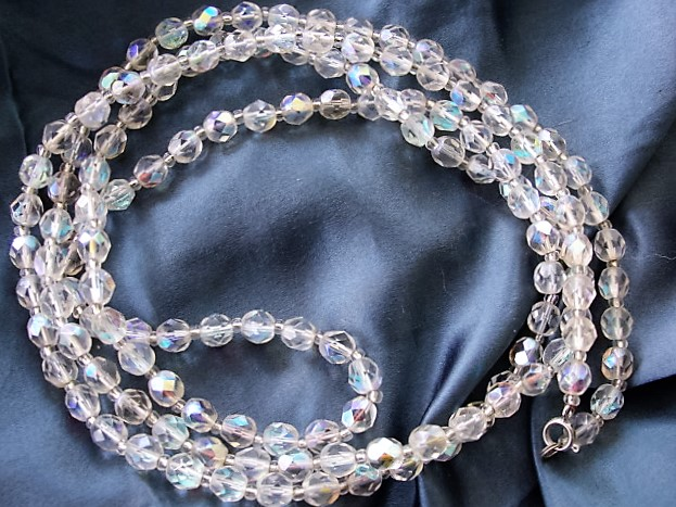 50s BEAUTIFUL Swarovski Cut Crystal Opera Length Necklace Aurora Borealis Cut Beads 46 inches Length Vintage Jewelry