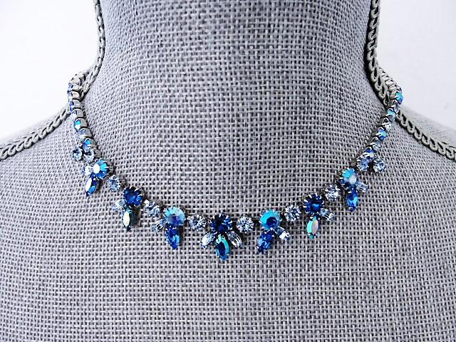 EXCEPTIONAL Elegant Signed SHERMAN Necklace Brilliant Peacock Blue Aurora Borealis Vintage 50s 60s Rhinestone Costume Jewelry