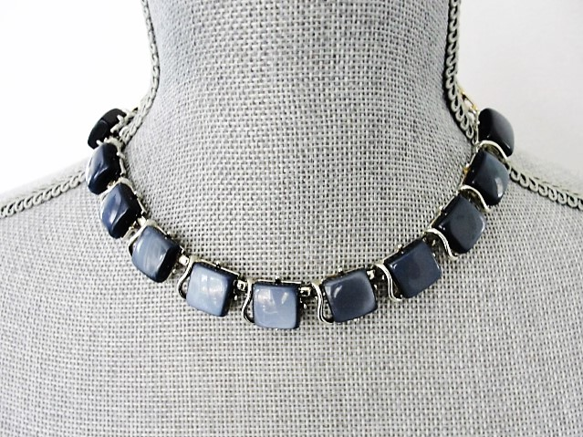 BEAUTIFUL 1950s Signed Designer CORO Grey Blue Moon Glow Thermoplastic and Silver Tone Metal Necklace Wear or Collect Vintage Costume Jewelry