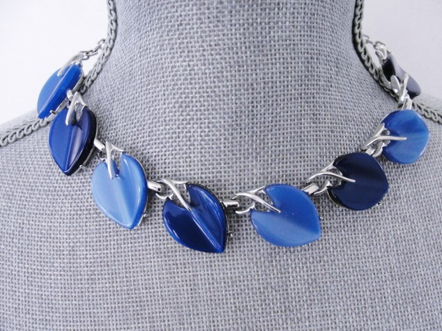 STUNNING 1950s Signed Designer CORO Heart Shape Blue Moon Glow Thermoplastic and Silver Tone Metal Necklace Wear or Collect Vintage Costume Jewelry