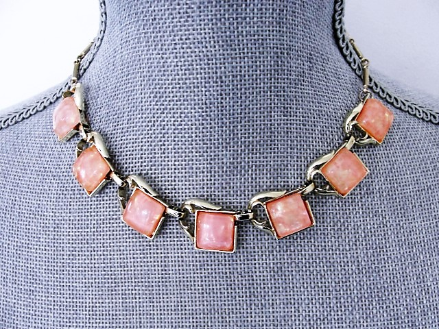 50s Thermoset Sparkle Pink Thermoplastic and Gold Tone Metal Necklace Wear or Collect Vintage Costume Jewelry