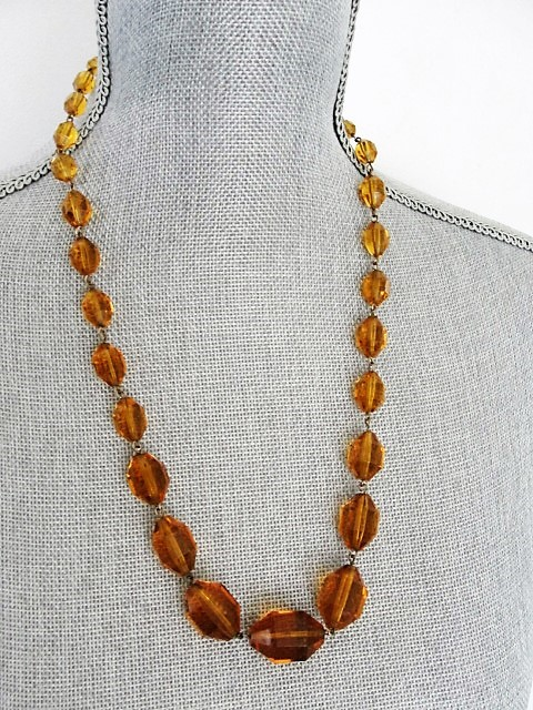 SPARKLING Vintage Art Deco Czech Amber Glass Bead Necklace Dazzling Faceted Beads Fine Old Costume Jewelry