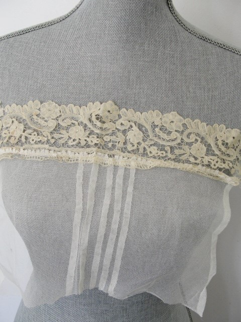 Antique Brussels and Tulle NETTED LACE Inset For ARMISTICE Blouse Like Downton Abbey Great Gatsby Style Bridal Vintage Clothing