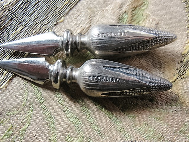 BEAUTIFUL Sterling Silver Corn On The Cob Pair of HOLDERS Lovely Details Perfect For The Person That Loves Corn or Collects Sterling Silver