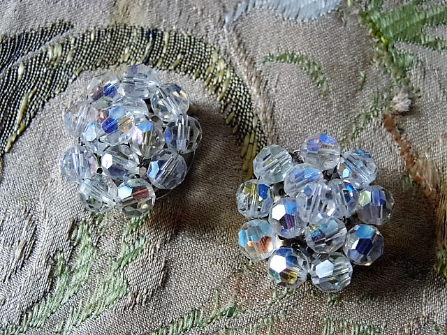 DAZZLING Vintage Austrian Swarovski Crystal Earrings Shimmering Aurora Borealis Cut Crystals Clip On Earrings Vintage Jewelry