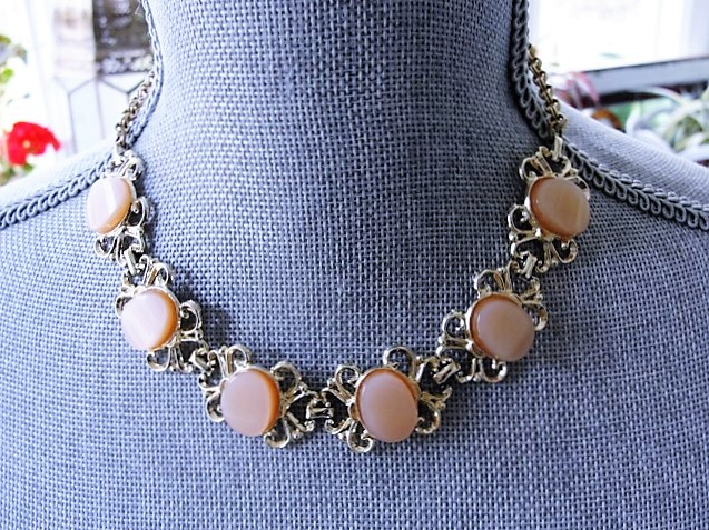 BEAUTIFUL 1950s Necklace and Earrings Set Pink Moon Glow Thermoplastic and Gold Tone Scrolling Metal Necklace Wear or Collect Vintage Costume Jewelry