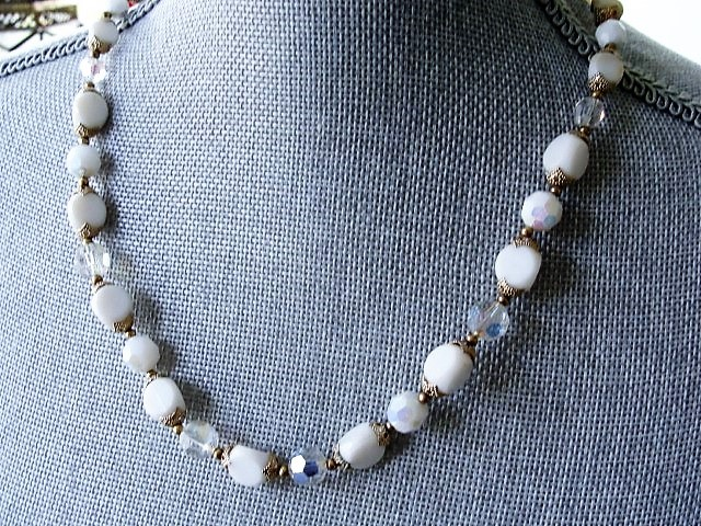 Vintage 50s AMAZING Beaded Cut Crystal Necklace Day or Evening Quality Costume Jewelry