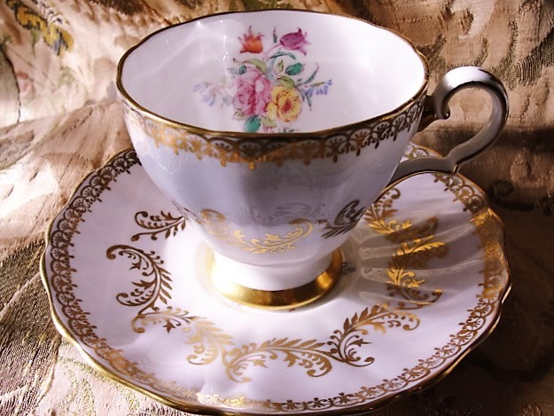 LOVELY English Bone China Teacup and Saucer by GROSVENOR Lush Cup and Saucer Vintage Tea Time China