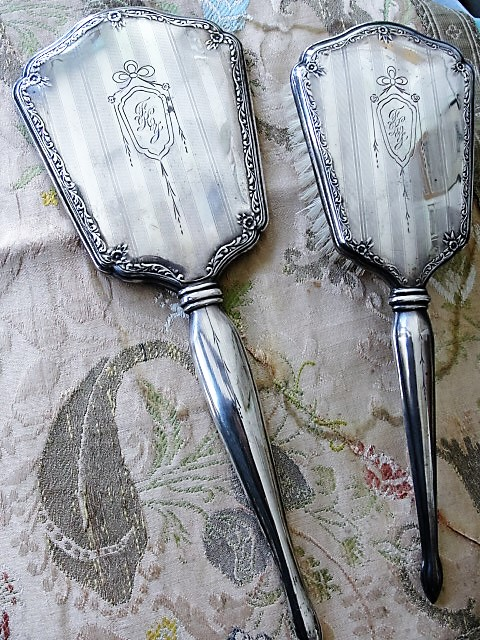 Elegant Antique Edwardian Sterling Silver Vanity Set Hand Mirror and Brush Bows Roses and Engraved Stripes Perfect Gift or Add To Silver Collection