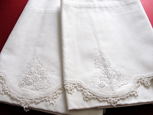 Antique BEAUTIFUL Pair of Pillowcases Lace Edged WhiteWork Hand Embroidery Chic Cottage Romantic Home Fine Vintage Linens