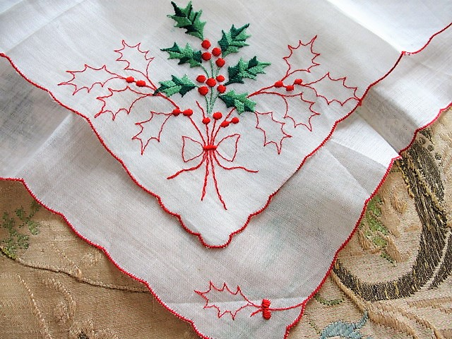 Vintage HOLIDAY Decor Novelty Handkerchief Hanky Hankie HollyBerry Christmas Hankies Xmas HollyBerries Colorful Winter Hanky Holiday Decor