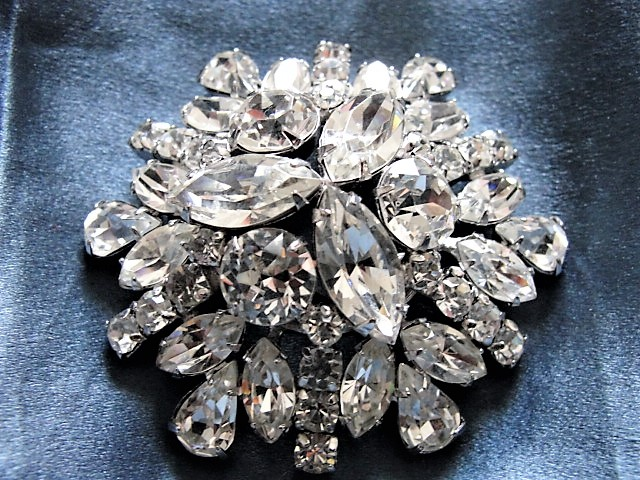 DAZZLING Vintage Signed Sherman Brooch,High DOME Design,Large Statement Pin Vintage Costume Rhinestone Jewelry
