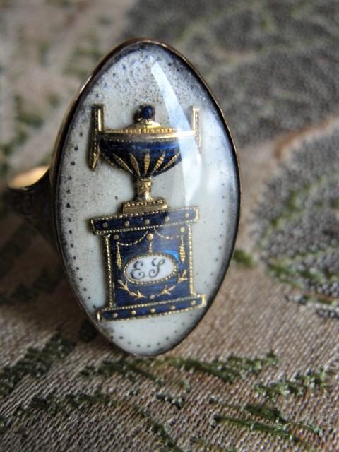Rare Antique GEORGIAN Blue Urn MEMORIAL Mourning Ring Enamel and Rock Crystal Dated 1788 Memento Mori Jewelry