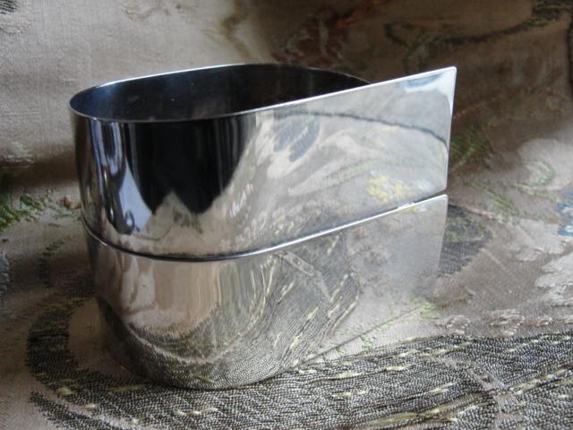MODERNISTIC Statement Large Silver CUFF BRACELET Signed Retro Estate Jewelry