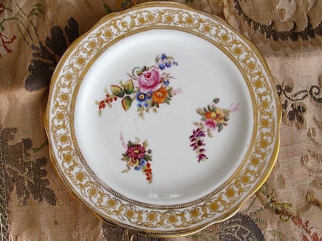 Antique Tea Plate Hand Painted Flowers DRESDEN SPRAYS Pattern Hammersley English Bone China