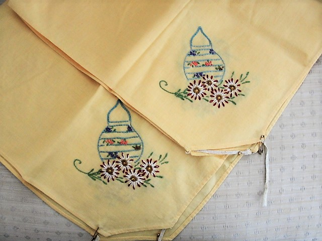 1920s Vintage CUTE Hand Embroidered BRIDGE Table Tablecloth Sunny Yellow Cotton Colorful Embroidery Work Lanterns and Flowers