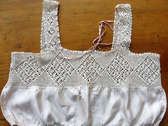 ANTIQUE Corset Cover Camisole Top Pretty Hand Crochet Lace Vintage Clothing Wear It or Display It