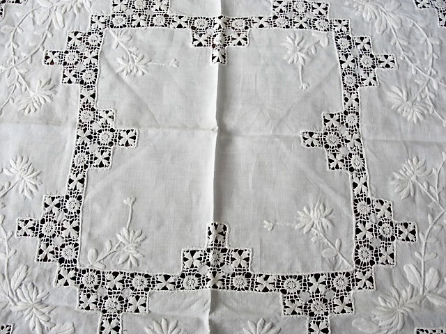 GORGEOUS Antique Victorian Fancy Small Tablecloth Table Topper Amazing Drawnthread Work Raised WhiteWork Embroidery Fine Antique Linens