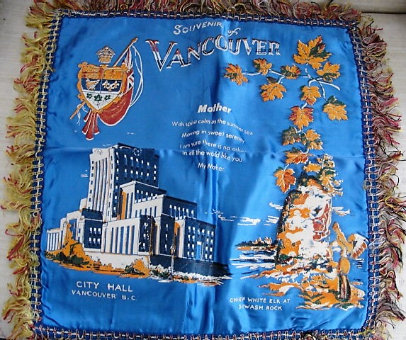 FAB n CAMP Vintage Souvenir Cushion Pillow Cover Vancouver BC