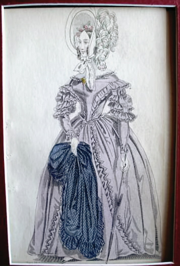 VICTORIAN FASHION PRINT PARIS PROMENADE DRESS