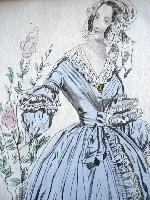 PARIS HOME DRESS VICTORIAN FASHION PRINT ORIGINAL 1830s