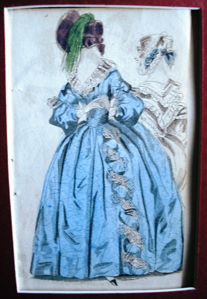 VICTORIAN FASHION PRINT ORIGINAL 1830s COLORFUL