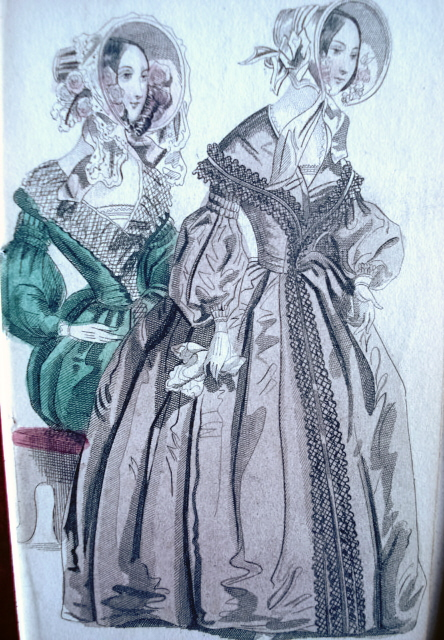 LOVELY BONNETS VICTORIAN FASHION PRINT ORIGINAL 1830s