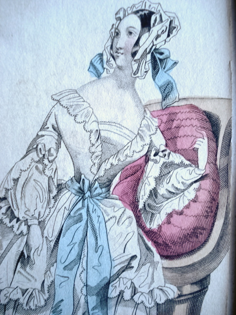 LONDON EVENING DRESS VICTORIAN FASHION PRINT ORIGINAL 1830s