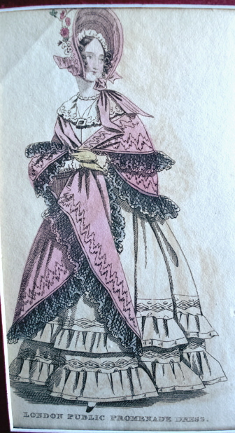 VICTORIAN LONDON PUBLIC PROMENADE DRESS FASHION PRINT ORIGINAL 1830s