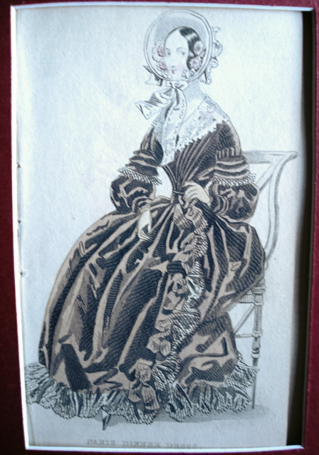 PARIS DINNER DRESS VICTORIAN FASHION PRINT ORIGINAL 1830s