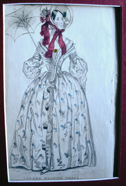 VICTORIAN FASHION PRINT ORIGINAL 1830s LONDON WALKING DRESS