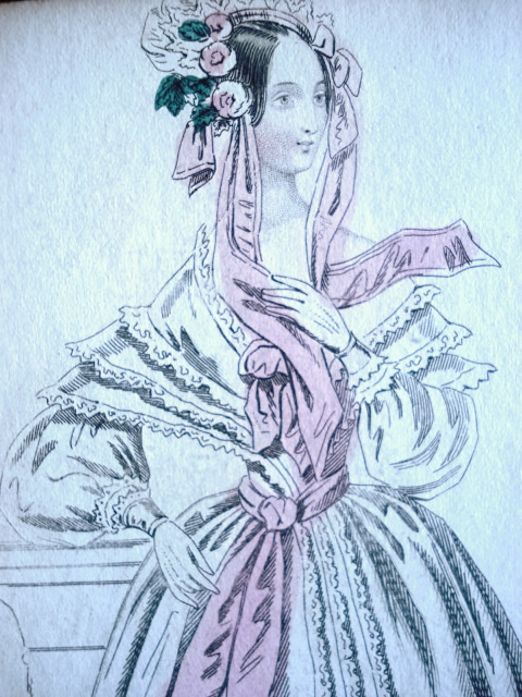 1830s FASHION PRINT ORIGINAL MORNING DRESS