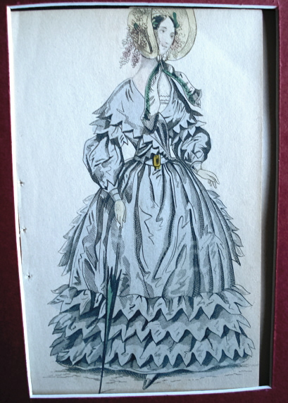 VICTORIAN FASHION PRINT ORIGINAL 1830s PUBLIC PROMENADE DRESS
