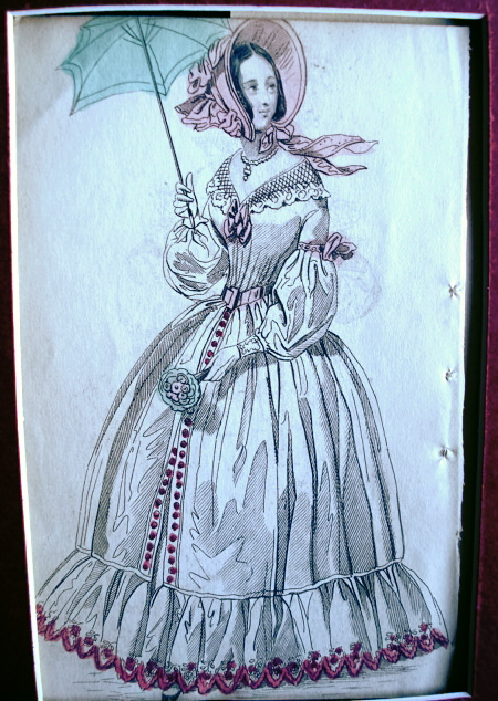 LOVELY SUMMER DRESS VICTORIAN FASHION PRINT ORIGINAL 1830s